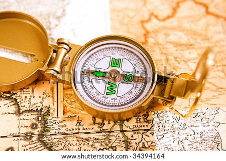 Close up view of the Compass - stock photo