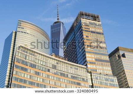 Close-up view of the Downtown Manhattan skyline on the west side of New York City - stock photo
