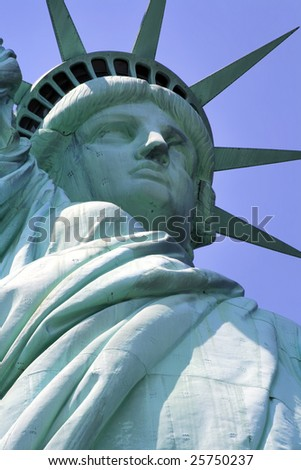 Close up view of the face of the Statue of Liberty in New York City.