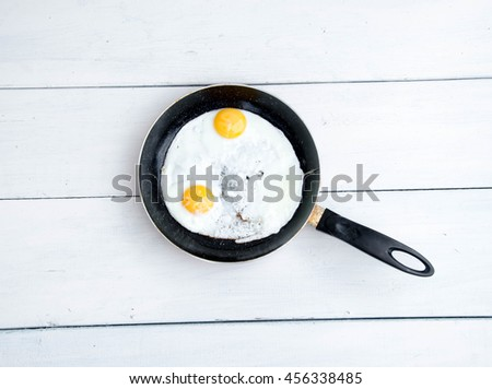 Close up view of the fried egg on a frying pan - stock photo