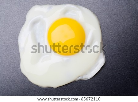 Close up view of the fried eggs on on a pan