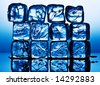 Close up view of the ice cubes in blue - stock photo