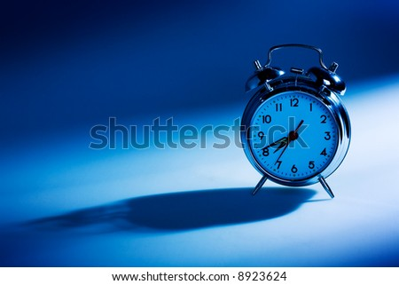 Close up view of the old alarm clock - stock photo