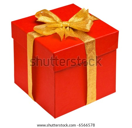 Close up view of the red box isolated - stock photo