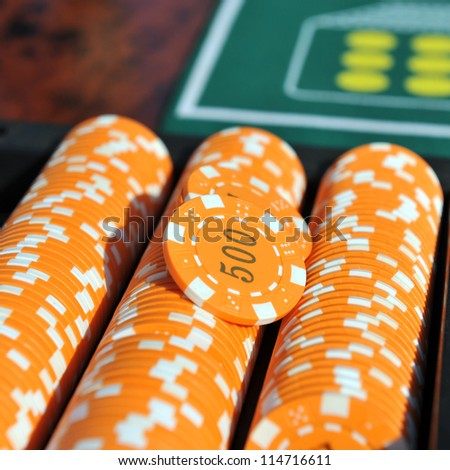 Close up view of the roulette table in casino - stock photo