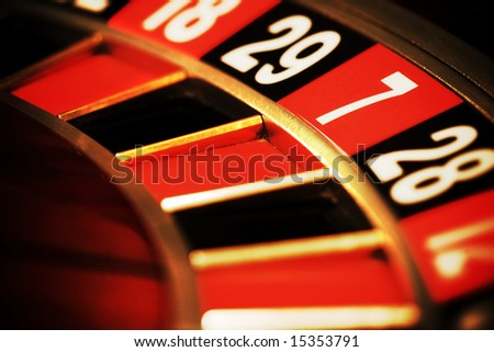 Close up view of the roulette whill, seven - stock photo