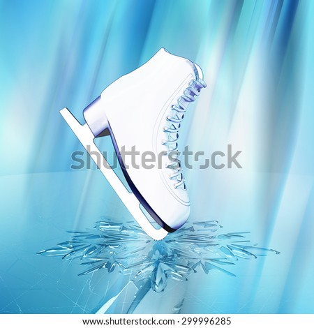 Close up view of  The skates for figure skating and a snowflake on skating rink ice.