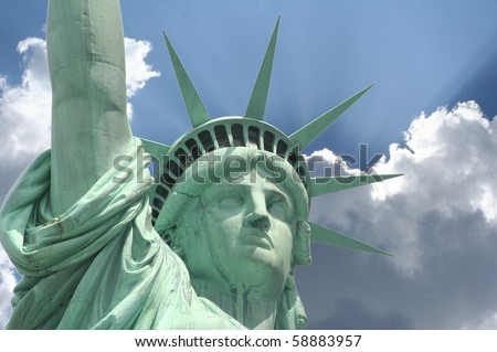 close up view of the Statue of Liberty - stock photo
