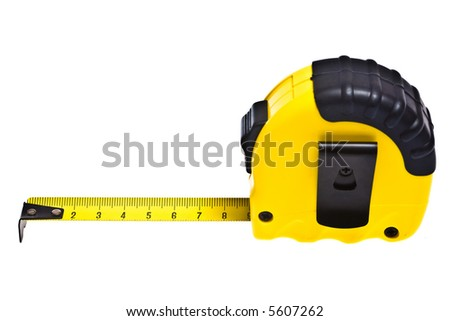 Close up view of the tape-measure on the white - stock photo