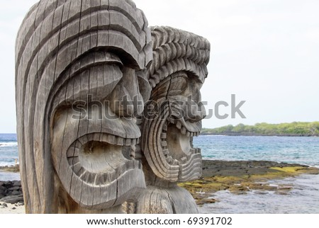 Close-up view of Tiki Statues at the Place of Refuge (Honaunau - Kona side, Hawaii) - stock photo