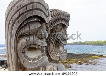 Close-up view of Tiki Statues at the Place of Refuge (Honaunau - Kona side, Hawaii) - stock photo