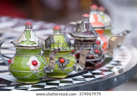 Close up view of traditional saharawi tea on a moroccan medieval fair.