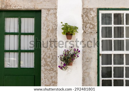 Close up view of typical architecture of Algarve region in Portugal. - stock photo