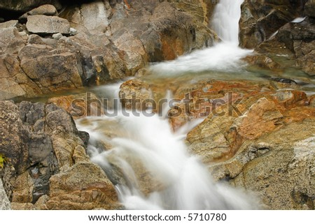 Close up view of upper deception falls near Stevens Pass in Washington State, USA - stock photo