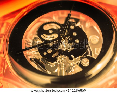 close up view of watch mechanism - stock photo