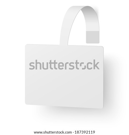 Close up view of white square advertising wobbler. Raster version illustration. - stock photo