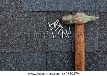 Close Up View On Asphalt Roofing Shingles Background. Background. Roof  Shingles   Roofing.