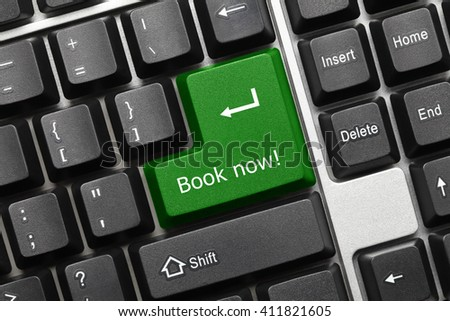 Close-up view on conceptual keyboard - Book now (green key) - stock photo
