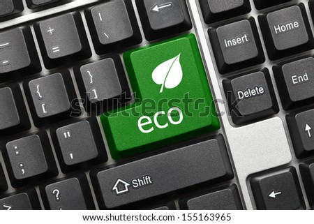 Close up view on conceptual keyboard - Eco (green key with leaf icon) - stock photo