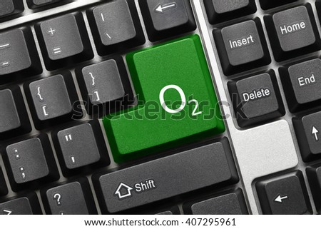 Close-up view on conceptual keyboard - Green key with Oxygen symbol - stock photo