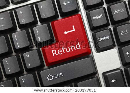 Close-up view on conceptual keyboard - Refund (red key) - stock photo