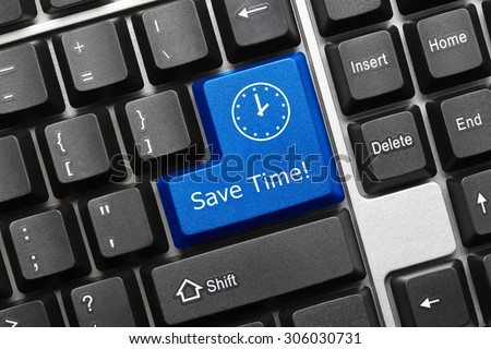 Close-up view on conceptual keyboard - Save time (blue key) - stock photo