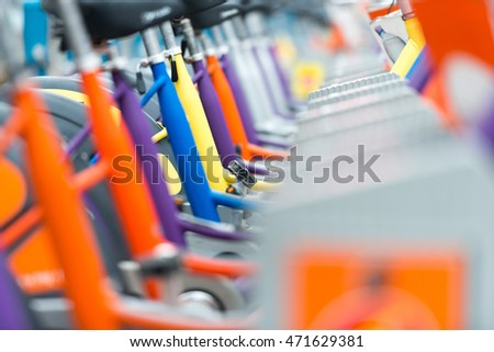 Close up view on details of bicycles for rent in Vienna, Austria. Europe travel.