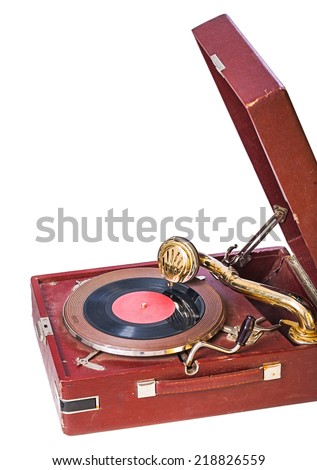 close up view on gramophone isolated - stock photo