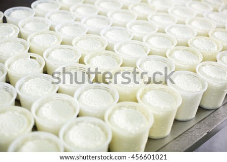 Close up view on many freshly made cottage cheese in plastic package - stock photo