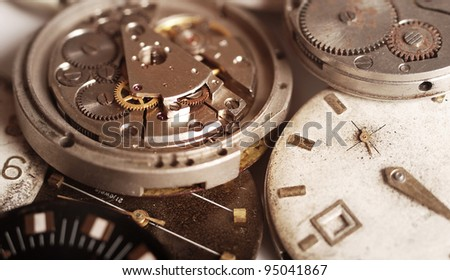 Close up view on the device of the old mechanical clock - stock photo