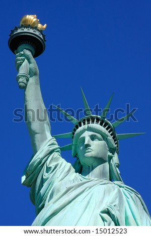 Close-up view on the Statue of Liberty - New York City, USA