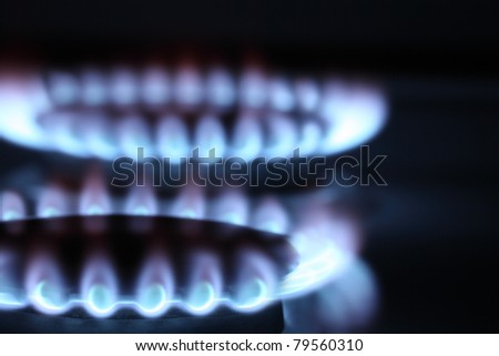 Close up view on two burners of cooker - stock photo