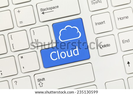 Close-up view on white conceptual keyboard - Cloud (blue key)