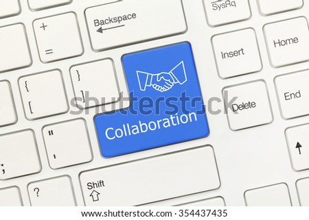 Close-up view on white conceptual keyboard - Collaboration (blue key) - stock photo