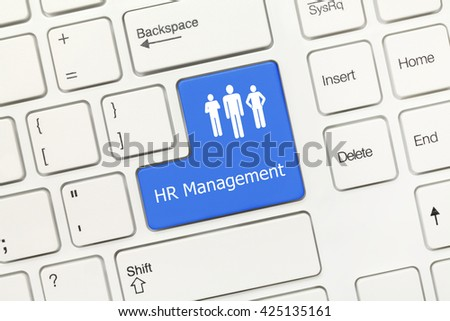 Close-up view on white conceptual keyboard - HR Management (blue key) - stock photo