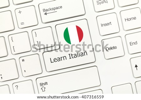 Close-up view on white conceptual keyboard - Learn Italian (key with national flag) - stock photo