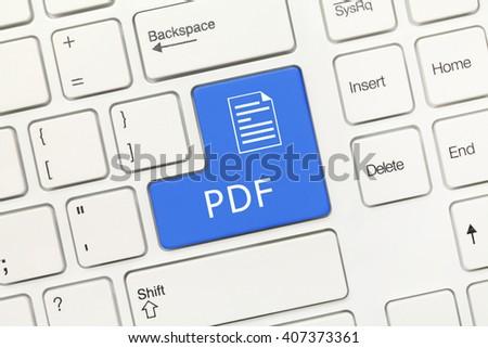 Close-up view on white conceptual keyboard - PDF (blue key) - stock photo