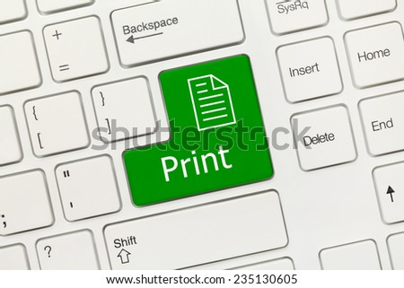 Close-up view on white conceptual keyboard - Print (green key) - stock photo