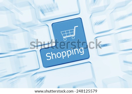 Close-up view on white conceptual keyboard - Shopping (blue toned). Zoom effect - stock photo