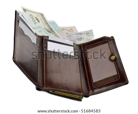 Close-up view to open wallet with banknotes on white background. Studio shot, not isolated