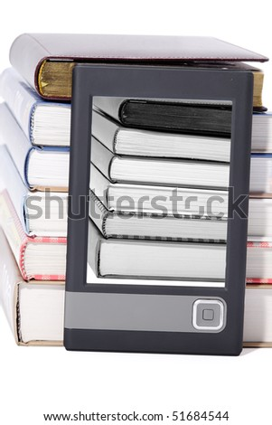Close-up view to portable book reader (e-book) and stack of big paper books. Studio shot, not isolated - stock photo
