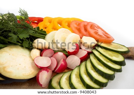 Close-up view to sliced vegetables - stock photo