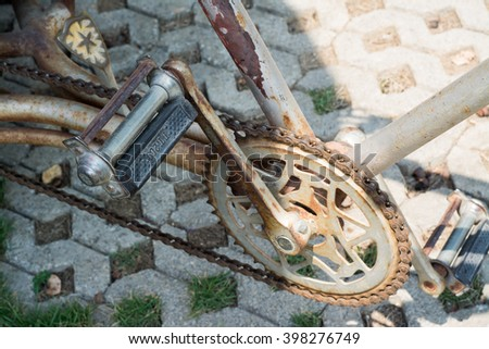 Close up vintage bicycle chain.