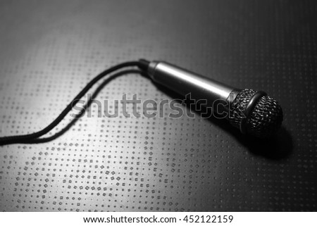 Close up vintage microphone, selective Focus