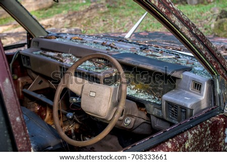 Close up vintage old car wrecked with rust outdoor  background /Old car wrecked with rust
