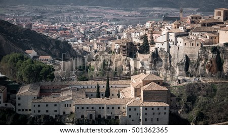 Close up vintage view of Cuenca old town and San Pablo convent