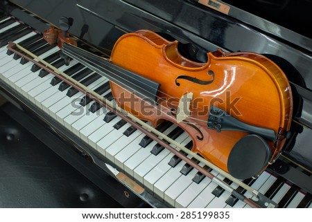 close up Violin and piano  - stock photo