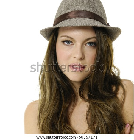 Close up vogue style photo of fashion model with hat - stock photo