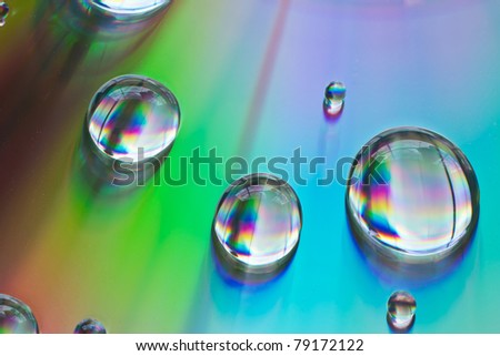 Close up Water drops with Rainbow colorful - stock photo