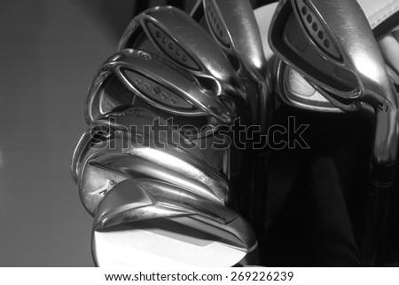close up wedge, golf club - stock photo